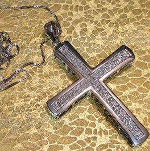14k solid White gold diamond cross